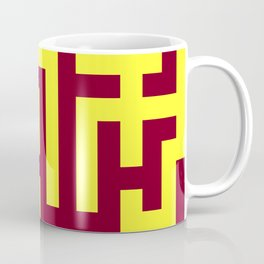 Electric Yellow and Burgundy Red Labyrinth Coffee Mug