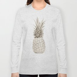 Minimalist White Gold Painted Pineapple Long Sleeve T-shirt