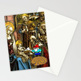 Will the Wandering Gnome Shares a White Hat with Jesus (Gnome Art) (Christmas Art) Stationery Cards