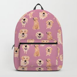 Golden Retrievers on Pink Backpack