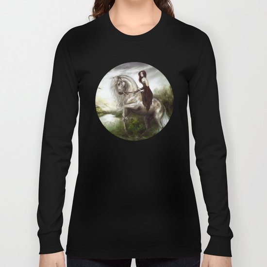 Morning welcome - Royal redead girl riding a white horse Long Sleeve T-shirt