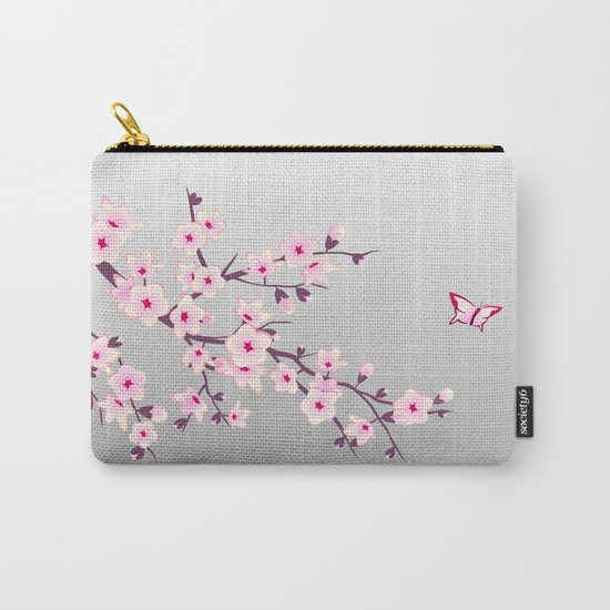Cherry Blossoms Pink Gray Carry-All Pouch