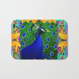 Chartreuse Wildlife Art Blue Peacock & Yellow Butterflies Art Bath Mat