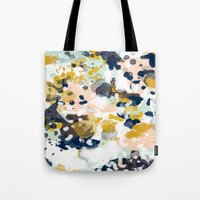 navy Tote Bags featuring Sloane - Abstract painting in modern fresh colors navy, mint, blush, cream, white, and gold by CharlotteWinter
