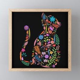 Fancy And Fine Flower Cat Garden Design Framed Mini Art Print