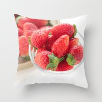 strawberry Throw Pillows featuring strawberry by yumehana design fine art photography