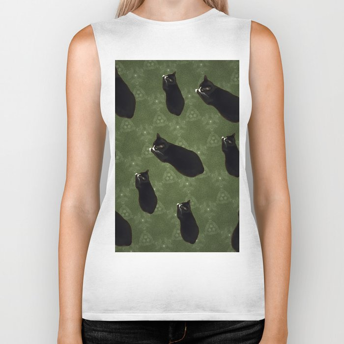 Cat photo pattern Biker Tank