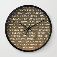 cities Wall Clocks featuring Cities by Linde Townsend