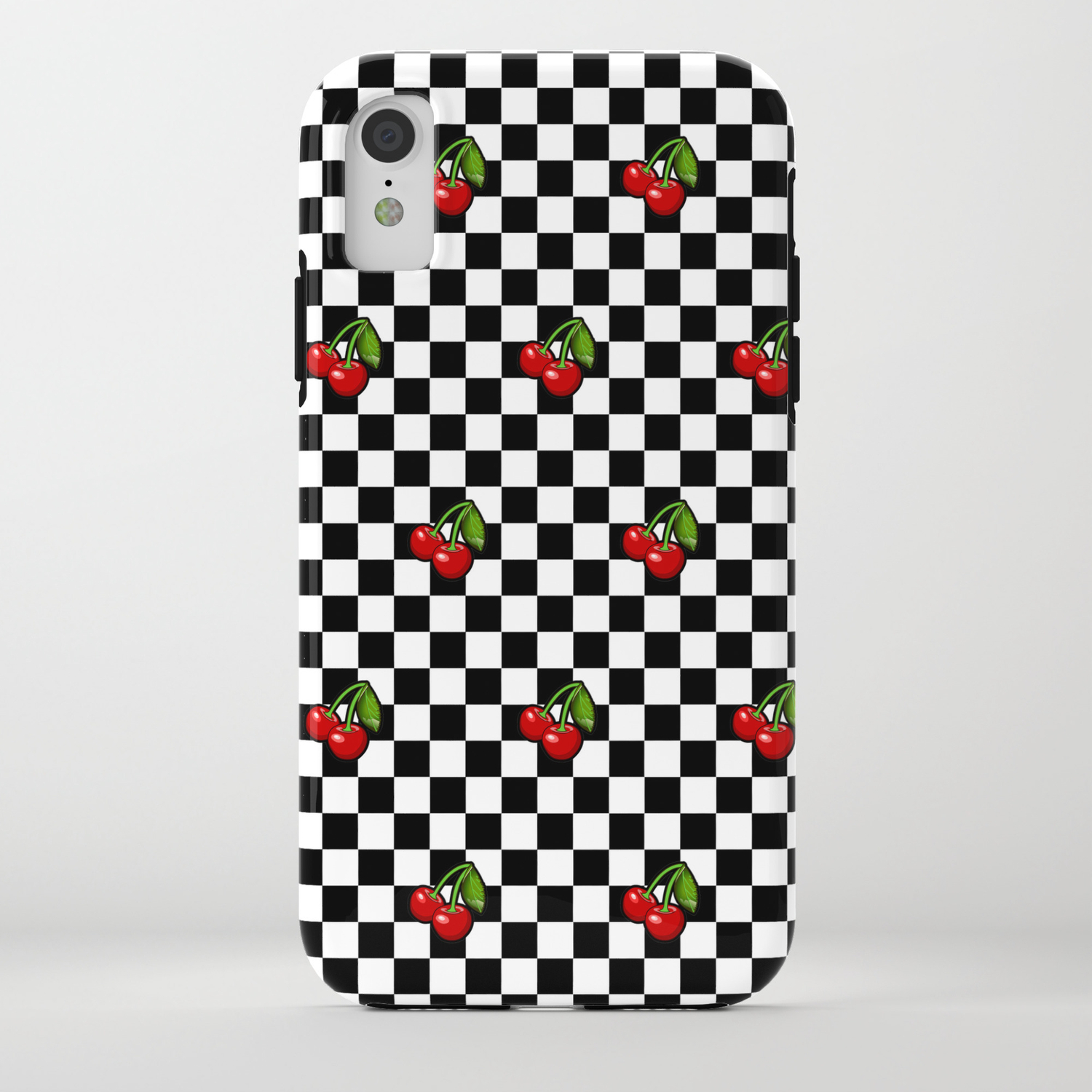 the best attitude 22159 67621 Checkered Cherries iPhone Case