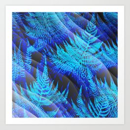 Icy Blue Ferns Nature Fantasy Art Print