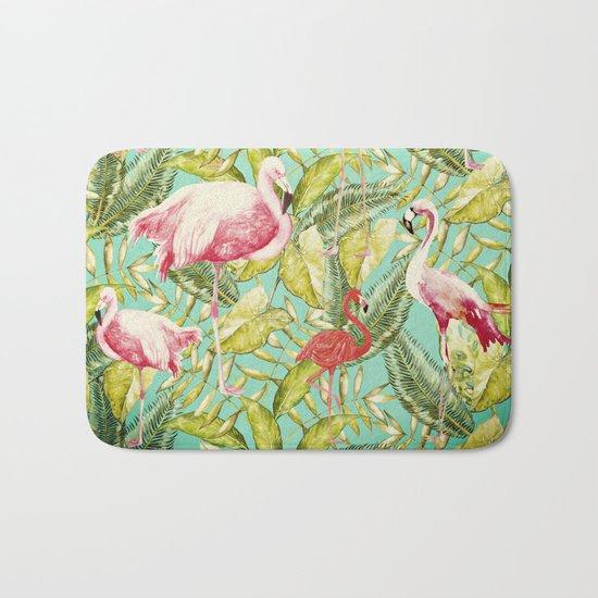 Aloha- Tropical Flamingo Bird and Palm Leaves Garden by #UtArt Bath Mat