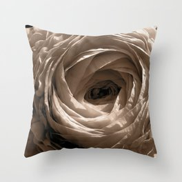 Sepia Toned Ranunculus Flower Throw Pillow