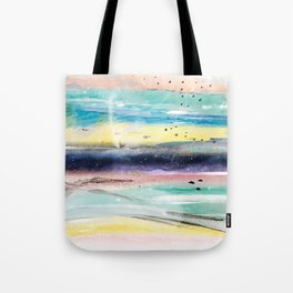 Summer watercolor abstract art design Tote Bag