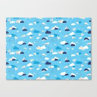airplanes Canvas Prints featuring Paper Airplanes by Polita