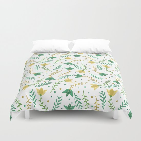 Floral white pattern  Duvet Cover