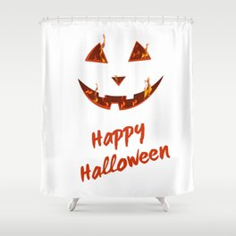happy halloween bonfire Pumpkin gift hallowe Shower Curtain