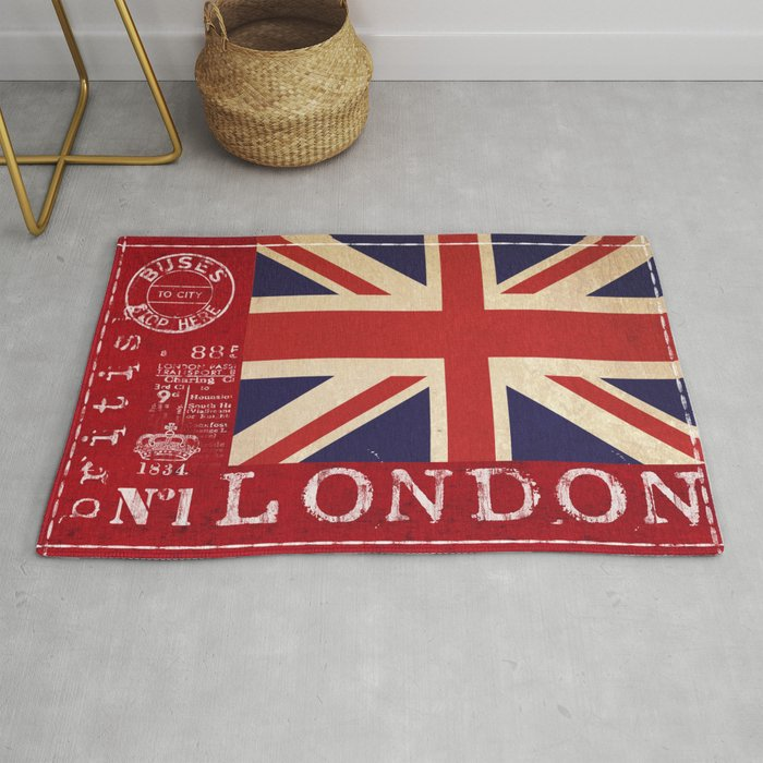 Union Jack Great Britain Flag Rug By