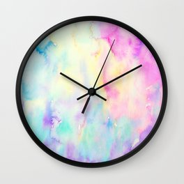 Watercolor Abstract Landscape Blue and Purple Wall Clock