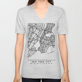 NEW YORK CITY NEW YORK BLACK CITY STREET MAP ART Unisex V-Neck