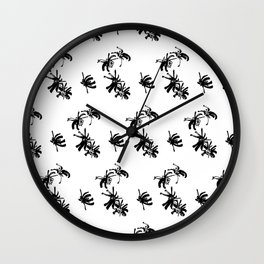 Ink Stroke: Black Floral Wall Clock