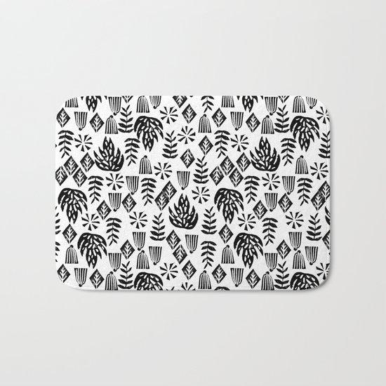 Tropical linocut tribal island pattern scandinavian art print black and white minimal Bath Mat