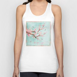 Its All Over Again - Romantic Spring Cherry Blossom Butterfly Illustration on Teal Watercolor Unisex Tank Top