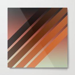 Brown Colored Retro Stripes Metal Print