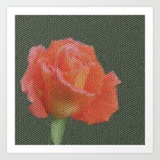 orange single rose bloom in small mosaic on a colored background of small hexagons Art Print