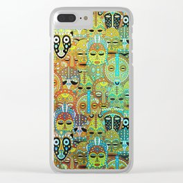 Tribal Mask Pattern Translucent with Gold Clear iPhone Case