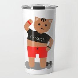 Cat champ doing sport Travel Mug