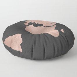Rose Gold World Map on Dark Gray Floor Pillow