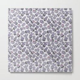 Modern purple black lavender cactus floral pattern Metal Print