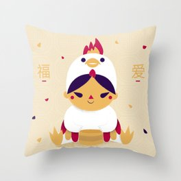 Red Rooster and Dumplings Throw Pillow