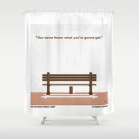 forrest gump Shower Curtains featuring No193 My Forrest Gump minimal movie poster by Chungkong
