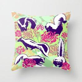 Skunk Flower Fields Throw Pillow
