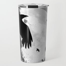 A Murder Of Crows Flying Across The Moon Travel Mug