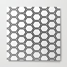 Modern black white abstract geometrical pattern Metal Print