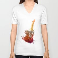 bass V-neck T-shirts featuring Bass Guitar by jbjart