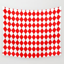 Diamonds (Red/White) Wall Tapestry