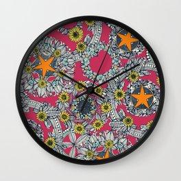 cirque fleur rose papaya star Wall Clock