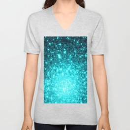 Turquoise Ombre Stars Unisex V-Neck