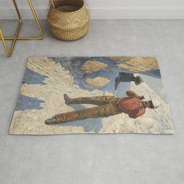 "William Leigh Western Art ""The Holdup"" Rug"