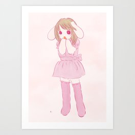lop ear rabbit girl Art Print
