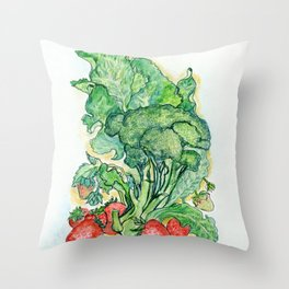Berries and Broccoli Throw Pillow