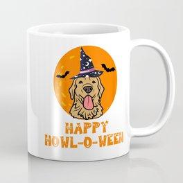 Funny Golden Retriever Dog Halloween Happy Howl-o-ween Coffee Mug