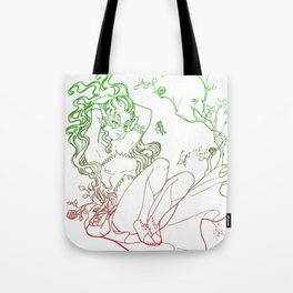 The Masked Fairy - leafy colors version - a masked fairy surrounded by butterflies and roses Tote Bag