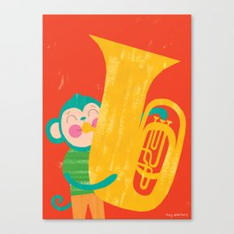 Tuba Monkey Canvas Print
