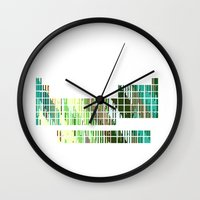 periodic table Wall Clocks featuring Periodic Table, Pixilated Color Blocks by kltj11