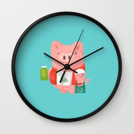 healthy life pig Wall Clock
