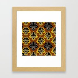 ART DECO YELLOW BLACK COFFEE BROWN AGAVE ABSTRACT Framed Art Print